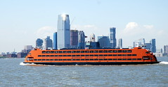 Staten Island Ferry with Manhattan in the background, New York, USA. (Roly-sisaphus) Tags: nyc thebigapple unitedstatesofamerica boats ships vessels