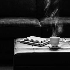 11 a.m. (HW111) Tags: books livingroom minimalism sofa steam tea quiet stillness bw blackandwhite