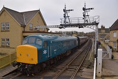Peak Locomotive 45041 is seen backing onto the carriages, ready to form the 13.30 service to Peterborough (NVR), under the distinctive Semaphore Signal Gantry at Wansford. Nene Vally Railway Spring Diesel Gala 06 04 2018 (pnb511) Tags: nenevalleyrailway diesel gala loco locos locomotive locomotives class45 train trains railway engine engines