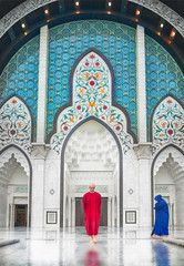 Tane In The Element At A Mosque In Kuala Lumpur (Stuck in Customs) Tags: kualalumpur malaysia treyratcliff stuckincustoms stuckincustomscom aurorahdr hdr hdrtutorial hdrphotography hdrphoto sony a7r3 sonya7r3 travel kl mosque tane red robe pray monk religion blue tile 80stays