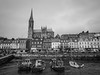 Cobh harbour - County Cork - Ireland (phil_king) Tags: cobh harbour coast seaside town cork ireland boats irish republic eire monochrome blackandwhite black white church cathedral