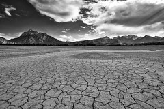 Dry Zone - Bavarian Death Valley (W_von_S) Tags: forggensee lakeforggensee bavaria bayern germany deutschland alpen alps alpenblick allgäu lake see trocken dry zone pattern muster risse wolken clouds himmel sky berge mountains monochrome monochrom schwarzweis blackwhite landschaft landscape panorama paysage paesaggio natur nature desert deathvalley taldestodes neuschwanstein schlosneuschwanstein sony sonyilce7rm2 wvons werner spring frühling april 2018 skancheli wüste säuling fuessen