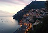 Wonderful moment in Positano (moniq84) Tags: wonderful moment positano amalfi coast costiera amalfitana blue hour long exposure lights red clouds movement sea palaces church waves water city view cityscape seascape landscape italia italy sunset sunrise night nightphotography boat cartolina postcard