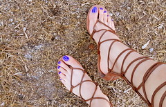 ($$Rachel$$) Tags: feet toes cute sandals whiskey outdoors blue