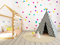 Wallpaper Design (Rex Homes) Tags: children color colorful dots green interior nursery render room toys carpet drawers kids rexhome rex home house land package floorplan plan design custom wallpaper inspiration