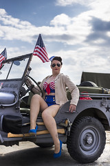Commemoration May 8th (BadGunman) Tags: battleship battle vessel ship ussnevada nevada uss girl flag unitedstates united army victory freedom usa sunglasses heels canet southoffrance france canon beauty usnavy us usn jeepwillis willis jeep wwii vintage pinup sexy