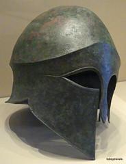 Aiani Museum, Hoplite Corinthian Type Bronze Helmet (1).JPG (tobeytravels) Tags: macedon macedonia alexanderthegreat alexandrthe3rd votive gravegoods