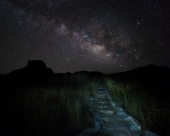 Walking after midnight (stevenpng) Tags: bigbendwindowtrail casagrandepeak internationaldarksky texasnightsky walkinaftermidnight patsycline chisosbasingroupcampground hikingtrailundermilkyway texasmilkyway americannationalpark bigbendnationalpark irix15mmf24 d810 nikongp1 casa grande butte