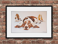 Phil Grindley Basset Hounds (philgrindley) Tags: animal painting original water colour color basset hound dad pups tiered framed art