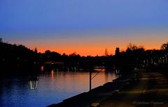 Sunset on Murazzi (fabricata) Tags: sunset murazzi italia po river torino colors orange blue bridge night