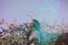 (emmakatka) Tags: spring blossoms trees emmakatka photography sky purple dreamy woman portrait vintage lace dress
