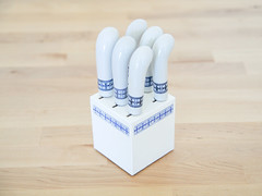 Miniature Knife Set (.godo) Tags: etsy vintage knives knife set block mini miniature small compact white blue bluewillow spode elesva delftware delftsblauw kitchen homedecor horsdoeuvre tea butter jam jelly spread porcelain ceramic appetizer cheese cocktail shabbychic cottage