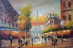 Dusk In Paris, Art Painting / Oil Painting For Sale - Arteet™ (arteetgallery) Tags: arteet oil paintings canvas art artwork fine arts sky city landscape architecture travel building tourism colorful tree old europe landmark town clouds alley season summer street park buildings urban scenic cityscape sun outdoors scenery house religion natural vacation holiday avenue design skyline scene monument outdoor tourist trees color cities impressionism orange brown paint