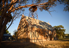 St James Wilcannia. 1883 (bobarcpics) Tags: churchexterior churchbell stonework stonebuilding church wilcannia stjames anglicanchurch gumtree shadows historicarchitecture belltower outbacknsw ruraltown