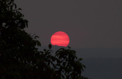 Ominous Sunset (Life_After_Death - Shannon Renshaw) Tags: sun set sunset red blood bloodred landscape outdoor canon canoneos canoneos50d 50d eos dslr canondslr eosdslr canoneos50ddslr pacific hills coast bad air particulate fire smoke pollution smog overpopulation