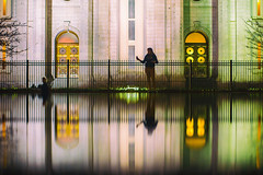 Relfection (Thomas Hawk) Tags: america julia juliapeterson lds ldschurch ldstemple mormon mormonchurch mormontemple mormonism slc saltlakecity saltlaketemple usa unitedstates unitedstatesofamerica utah architecture mrsth reflection spouse temple wife us fav10 fav25 fav50 fav100