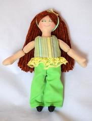 Girl Doll With Red Hair & Green Clothes (joellesdolls) Tags: handmadetoy toydoll toys ragdoll clothdoll forkids girls joellesdolls oneofakind