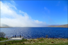 Spelga Dam. (ikerr) Tags: spelga dam mourne mountains northern ireland blue sky water fog cloud mist rain white people dog grass fz1000