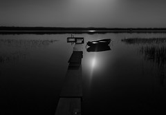 a thousand big moments ... (Eggii) Tags: giewartów lake sunset silence water blackandwhite bright sky nature art white black boat relax time landscape