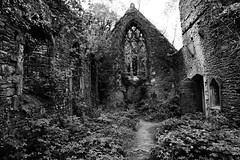 Ghosts in the Shell (JamieHaugh) Tags: tintern monmouthshire wales uk gb great britain sony a6000 alpha zeiss outdoors black white bw monochrome ruins church st marys building architecture forgotten ghosts paranormal fire undergrowth mysterious spooky window door cross abandoned ilce6000 trees light shadows blackwhite blackandwhite
