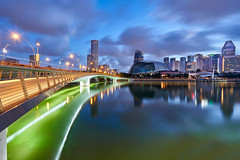 Colors of Dawn (Shutter wide shut) Tags: bluehour cityscape esplanade jubileebridge landscape lighttrails longexposure singapore sonyvariotessarfe1635f4zaoss sonya7r3 sonya7riii twilight water dawn reflections
