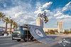 High Flyer - EXPLORED (Eric Arnold Photography) Tags: vw volkswagen bus bay window kombi bmx bike trick jump ramp dub dubrampz aircooled entertainment lasvegas vegas vegasstrip strip caesars caesarspalace skyline clouds palmtrees upsidedown hangtime stunt canon canon80d 80d photoshoot magazine