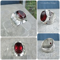 Garnet Leaves and Suns Sterling Silver Ring (commission) (KSJewelleryDesigns) Tags: metalwork ring jewellery jewelry handmade brightsilver shine sterlingsilver silverjewellery handcrafted silver silverwire metal hammered shiny polished bright soldered soldering brushed sawing piercing silversmith silversmithing texture stonesetting gemstone faceted garnet