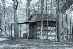 Blacksmith Shed at McDaniel Farm (randyherring) Tags: park farm historic woods trees recreation nature relaxing hiking rural historical agricultural buildings countryside monochrome blackandwhite
