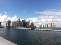 This picture taken from a bridge to Miami Beach and looking back at downtown Miami.