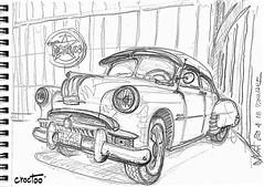 La grosse américaine du salon Vintage à Niort (Croctoo) Tags: croctoo croctoofr croquis crayon sketch mécanique mecanique auto autoancienne