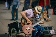 Virtuoso#349 (Мaistora) Tags: street music musician performer busker guitar guitarist tapping instrumental arrangement pop rock classic hits evergeeens multiinstrumentalist twinneck multipleguitars orchestra electric talent contest competition joelrodriguez straw hat amp square duomo milano italy sony alpha ilce a6000 sel90m28g lightroom