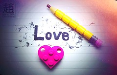Love can't be erased, no matter how hard you try (mikechiu86) Tags: legos together separating breakup couple relationship loves rubber pencil eraser erase cute lego love