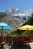 Terrace with a view. Chalet du Glacier des Bossons. 1425 m. Chamonix. (elsa11) Tags: chamonix glacierdesbossons glacier gletscher gletsjer aiguilledumidi montblancmassif montblanc montblancrange alpes alpen alps rhonealps hautesavoie france frankrijk mountains montagnes
