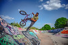 Gardels turn (Paul Wrights Reserved) Tags: bmx bmxlife skatepark sky bike biker cycle cyclist graffiti airtime air clouds wheels trick tricks action actionphotography trees tree bluesky