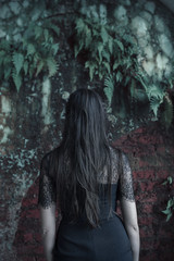 Plants always find his way back (Adam R.T.) Tags: clinique urbex urbexground urbexeurope decay decline ruin mysterious interior obscur quiet fantastic france lostplaces exploration girl hair dress black brunette plants brick