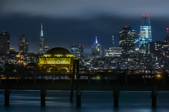 skyline platform (pbo31) Tags: sanfrancisco california nikon d810 color may spring 2018 boury pbo31 city urban night dark black crissyfield presidio shore bay reflection skyline salesforce architecture contemporary palaceoffinearts transamerica