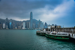 Morning Star Star Ferry on Victoria Harbour - Hong Kong (mbell1975) Tags: hongkong kowloon hk morning star ferry victoria harbour hong kong hkg sra china harbor water sea city skyline office buildings skyscaper skyscrapers boat vessel ship cloudy overcast clouds 香港