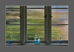 Home is where your story begins. (Christina's World Off and On) Tags: window windows kitchen texture glass rippledglass vintage bottles garden green california colorful light stilllife unitedstates view house home neighborhood three 3