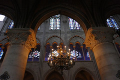 Columns, arches and chandelier - Notre Dame Cathedral (Monceau) Tags: arches columns chandelier nave notredamecathedral paris notredamedeparis