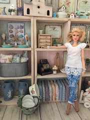 The boutique really looks like a boutique now! So exciting to see it all come together!!! (JunqueDollBoutique) Tags: boutique doll one sixth scale grace kelly barbie shabby chic vintage store shop feminine romantic
