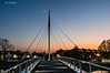 Bridge, Sunset and Moon (Gijs Rijsdijk) Tags: lights vliet fiets cyclebridge fietsbrug rijswijk bridge deoversteek moon refelction sunset water zonsondergang