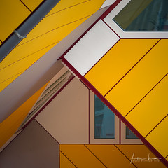 Yellow Submarine X (Alec Lux) Tags: pietblom rotterdam architecture building city cube cubism design detail details fragment fragments geometric geometry hexagon holland house houses kaleidoscope kubuswoningen netherlands structure urban water