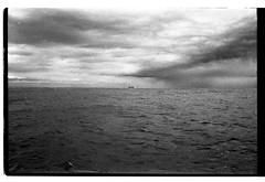A Raw Scan of the Sea  -   (Film) (Harald Philipp) Tags: pegasusbay newzealand christchurch ilforddelta400 kodakretina iso400 blackandwhite bw monochrome film 35mm antiquecamera nostalgia freighter ship horizon clouds