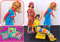 SPIRIT OF '71 (ModBarbieLover) Tags: francie mod 1971 1972 doll mattel vintage fashions suede barbie yellow blue pink hair nobangs booklet