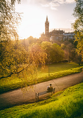 here comes summer (D Cation) Tags: scotland glasgow kelvingrovepark sunset university spire