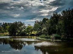 HOUSE ON THE HILL #7 (len.austin) Tags: australia australianplants brisbane clouds footbridge hdr lake landscape outdoor overcast reflections sunlight 7dwf