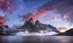 Enter The Dragon (Tim Poulton) Tags: patagonia chile panoramic torresdelpaine nikon landscape sunrise clouds reflections timothypoulton argentina water wideangle earth explore ripples travel tourist sky sunset outdoor