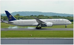(Riik@mctr) Tags: manchester airport egcc hzar23 grass airplane sky forest tree saudi arabian airlines boeing 787 msn 40049