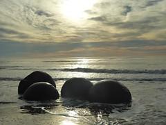 Moeraki Boulders. (jenichesney57) Tags: moeraki beach boulders sunlight water waves pacific ocean newzealand panasonic sun