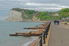 St Margaret's Bay (Geoff Henson) Tags: beach promenade people cliffs sea ocean tide trees grass footpath waves clouds